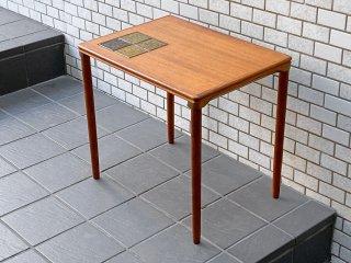 デンマーク ビンテージ チーク材 タイルトップ サイドテーブル 北欧家具 ■
