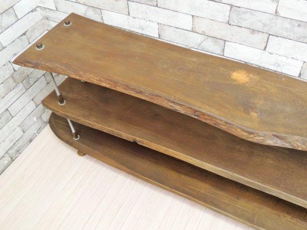 インダストリアルデザイン 3段 古材リメイクディスプレイラック 収納シェルフ ●