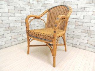 フランスビンテージ ラタンチェア アームチェア サザビーファニチャー SAZABY Furniture購入 ●