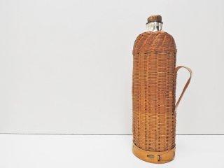 ビンテージ Vintage バキュームボトル ジャグ 水筒 竹編み コルク栓 ピクニック アウトドアグッズ ●