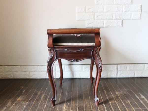 イギリス アンティーク マホガニー材 ピアノ スツール ヴィクトリアン様式 ◎