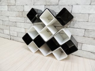 Ferguson Formdesigns LTD ホワイト & ブラック ボトルラック ワインラック 飾り棚 UK ビンテージ 英国 ●