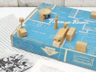 プラン・ア・ルーム Plan・A・Room インテリア デザイン キット Interior Design Kit 1/2in. =1ft. ミニチュア 木製 玩具 1960s ビンテージ ●