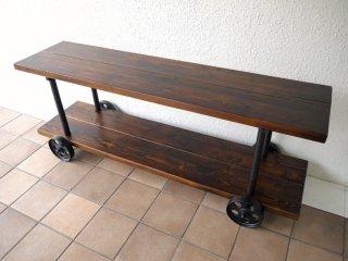 アクメファニチャー ACME Furniture ギルド GUILD 2段シェルフ W1400 パイン古材×鋳鉄 インダストリアル ローボード AVラック テレビボード ベンチ ◇