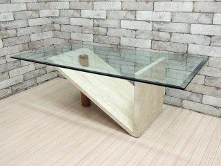 モダンデザイン Modern design ガラス × 大理石 × ウッド センターテーブル ●