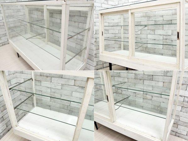 ビンテージ vintage ガラス × ペインテッドウッド ショーケース ホワイト 店舗什器 ●