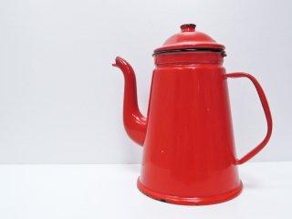 ジャパンビンテージ Japan Vintage ホーロー コーヒーポット レッド 琺瑯 レトロ ●