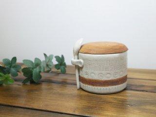 現代作家 シュガーポット 陶器 × 無垢材 スプーン 木蓋 無垢材削り出し ◎