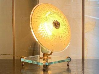 アールデコ アンティーク テーブルランプ ガラスシェード 真鍮 フランス ■