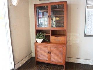 ジャパンビンテージ Japan Vintage 食器棚 カップボード 2枚扉 チーク材 昭和レトロ ◎