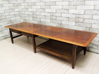 バセットファニチャー Bassett Furniture センターテーブル ローテーブル W167cm USビンテージ ●