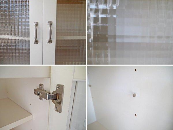 ビーカンパニー B-COMPANY ガラスキャビネット カップボード 食器棚 台所収納 チェッカーガラス ホワイト ◇