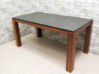 クラスティーナ Crastina 御影石材 × ウォールナット無垢材 ダイニングテーブル モダンデザイン ●