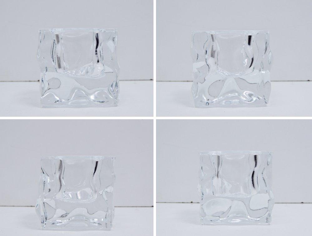 イッタラ iittala アイスキューブ ICE CUBE ガラス キャンドルホルダー クリア 箱付 ミッコ・カラッパネン Mikko Karppanen 廃番 希少 フィンランド 北欧 ●