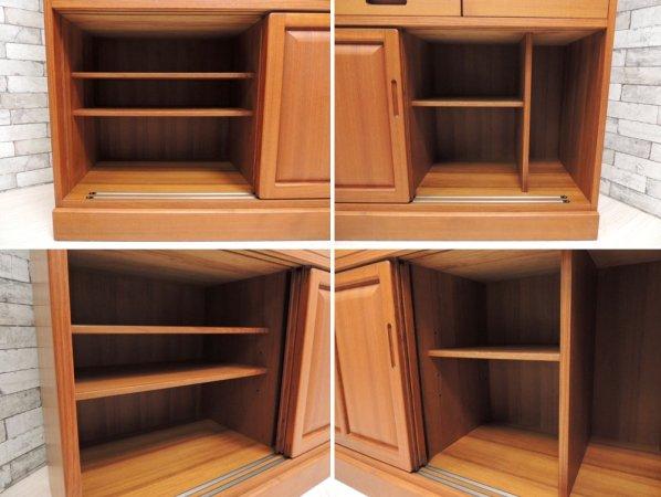日田工芸 Hita Craft チーク材 食器棚 カップボード ビンテージ 北欧スタイル ●