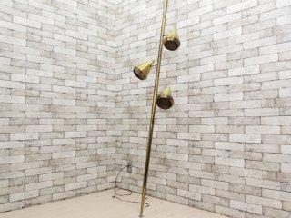 USビンテージ 3灯 フロアライト 突っ張り式 真鍮製 ゴールド H254cm ミッドセンチュリー ●