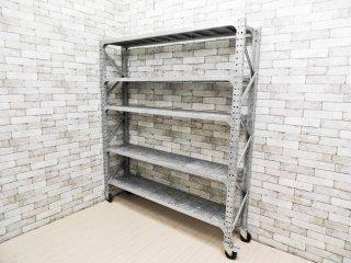 ダルトン DULTON ガルバナイズドシェルフ Galvanized shelf ダブル スチール キャスター付 インダストリアルデザイン 定価\125,400- ●