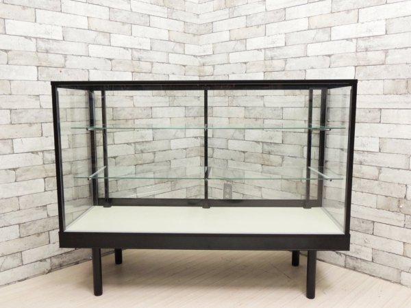 シンプルデザイン ガラスショーケース ディスプレイケース 飾り棚 全面ガラス 店舗什器 W120 ●