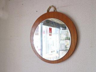 北欧ビンテージ Scandinavian vintage ウォールミラー ラウンドミラー チーク材 ◎