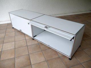 ユーエスエムハラーシステム USM Haller 2×1 TVボード W1536 ライトグレー 定価¥181,155- キャビネット オーディオラック AVボード オフィス家具 MoMA スイス製 ◇