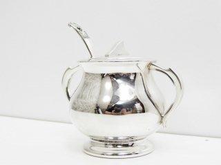 ヨーロピアン ビンテージ シェフィールドシルバー Sheffield Silver シュガーポット スプーン付き  ●