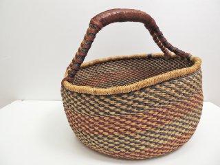 アフリカ ブルキナファソ バスケット カゴ 手編み 1ハンドル エレファントグラス  ●