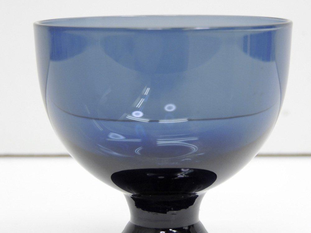 ヌータヤルヴィ Nuutajarvi ビストロ BISTRO グラス 脚付きカップ ブルー サーラ・ホペア Saara Hopea 1950-60s ビンテージ フィンランド 北欧食器 A ●