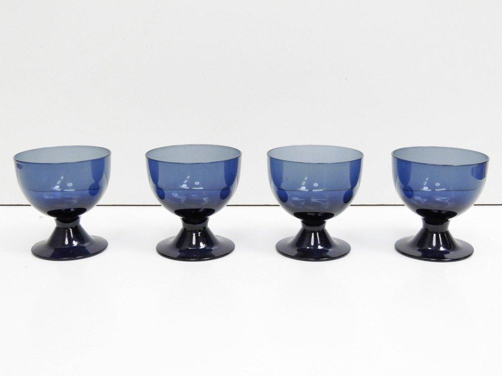 ヌータヤルヴィ Nuutajarvi ビストロ BISTRO グラス 脚付きカップ ブルー サーラ・ホペア Saara Hopea 1950-60s ビンテージ フィンランド 北欧食器 C ●
