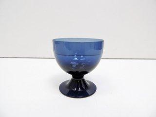 ヌータヤルヴィ Nuutajarvi ビストロ BISTRO グラス 脚付きカップ ブルー サーラ・ホペア Saara Hopea 1950-60s ビンテージ フィンランド 北欧食器 D ●