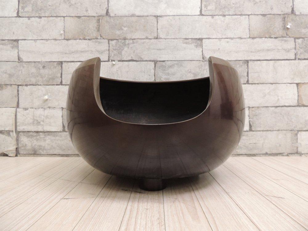 中村義一 中村大禾 作 唐銅製 阿古陀形風炉 火鉢 共箱付き 旧家蔵出し ●