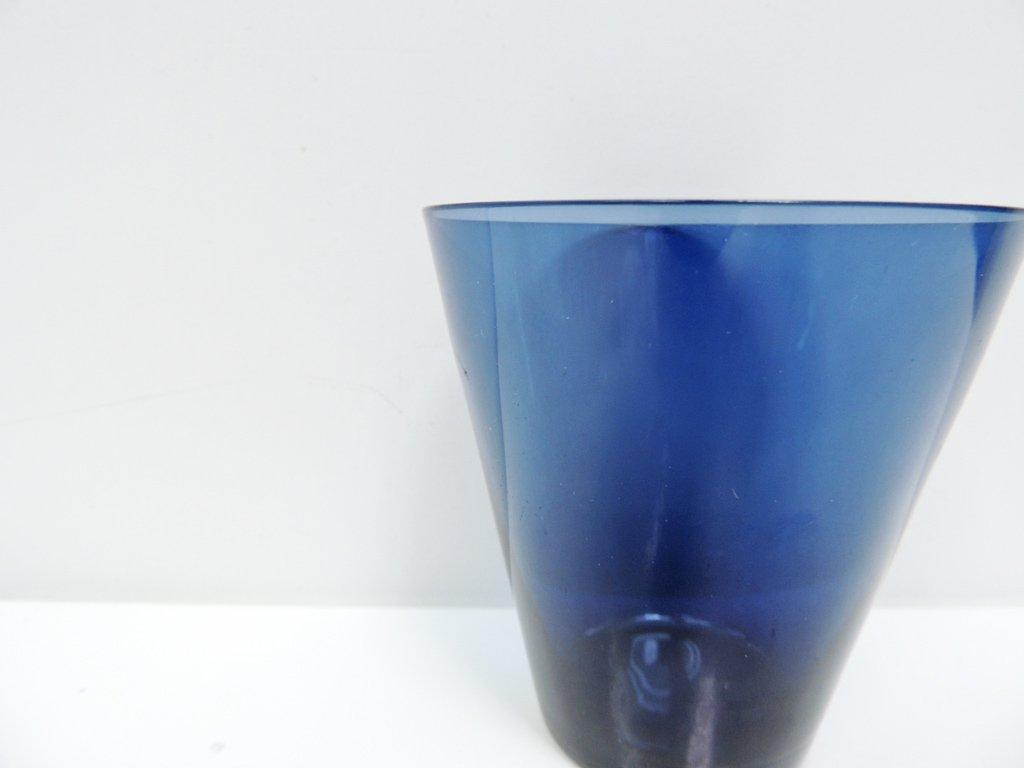 ヌータヤルヴィ Nuutajarvi #2744 グラス ブルー カイ・フランク KAJ FRANCK 手吹き ビンテージ C ●