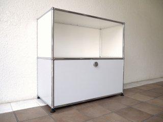 ユーエスエムハラーシステム USM Haller 1×2 サイドボード W786 P.ホワイト×L.グレー 定価¥134,585+α シェルフ キャビネット オフィス家具 MoMA スイス製 ◇