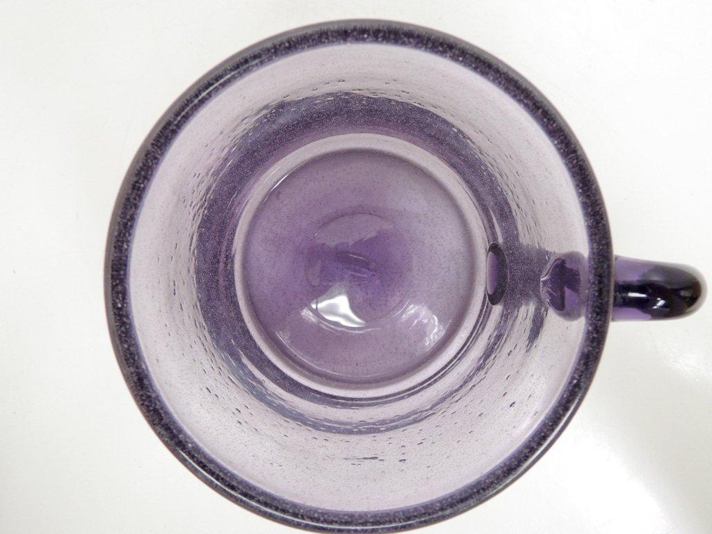 北欧ビンテージ danish vintage ガラス マグカップ ラージサイズ パープル ●