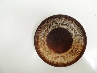 井上茂 彫三島 6寸皿 盛り皿 現代作家 ●