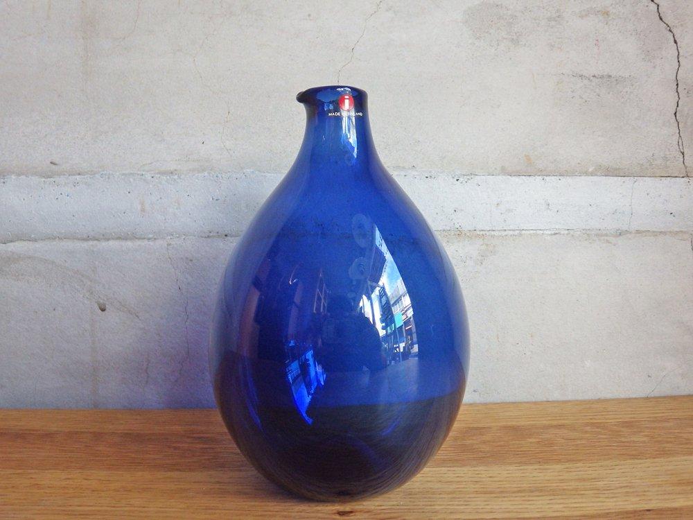 イッタラ iittala バードボトル Bird Bottle i-401 ティモ・サルパネヴァ TimoSarpaneva 1957-1968年 ネイビー 三角シール 刻印あり ♪
