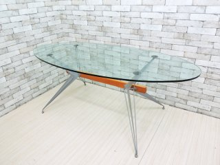 ファセム Fasem ガラス天板 ダイニングテーブル ガラス × メタル × ウッド イタリア モダン ●