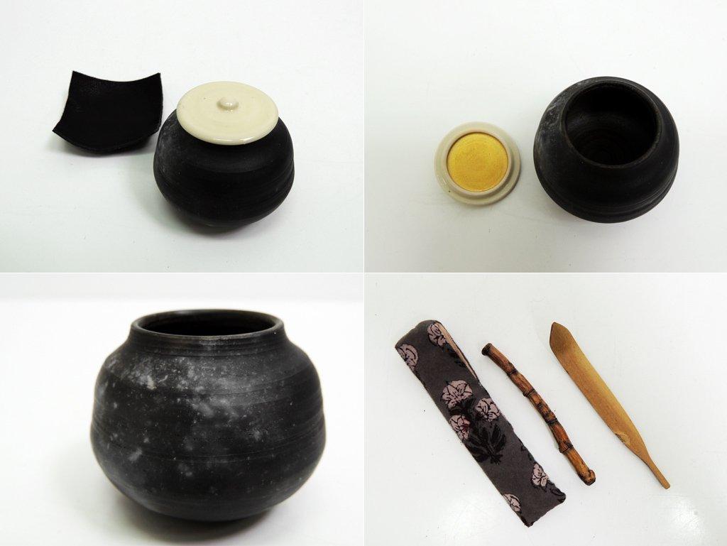 中島完 小さな茶箱の道具 レザーケース付 茶道具 現代作家 参考価格94,000円 ●