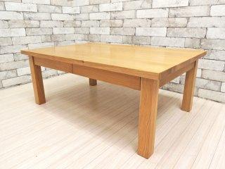 無印良品 MUJI ローテーブル センターテーブル タモ無垢集成材 W90 抽斗2杯 ●