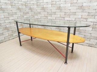 ポストモダンデザイン センターテーブル ディスプレイテーブル ガラストップ マルチカラーフレーム 80〜90's  PARCO什器 ●