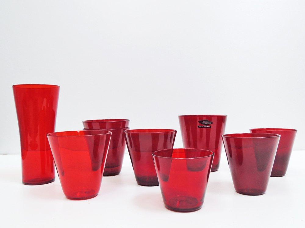 ヌータヤルヴィ Nuutajarvi #2744 グラス Mサイズ レッド カイ・フランク KAJ FRANCK 手吹き ビンテージ 北欧食器 A ●