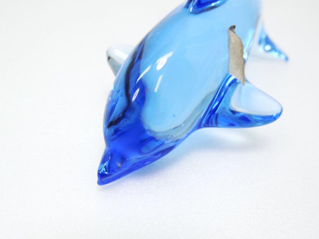ドーム フランス Daum France クリスタル ドルフィン オブジェ Crystal Dolphin Sculpture ブルー   ●