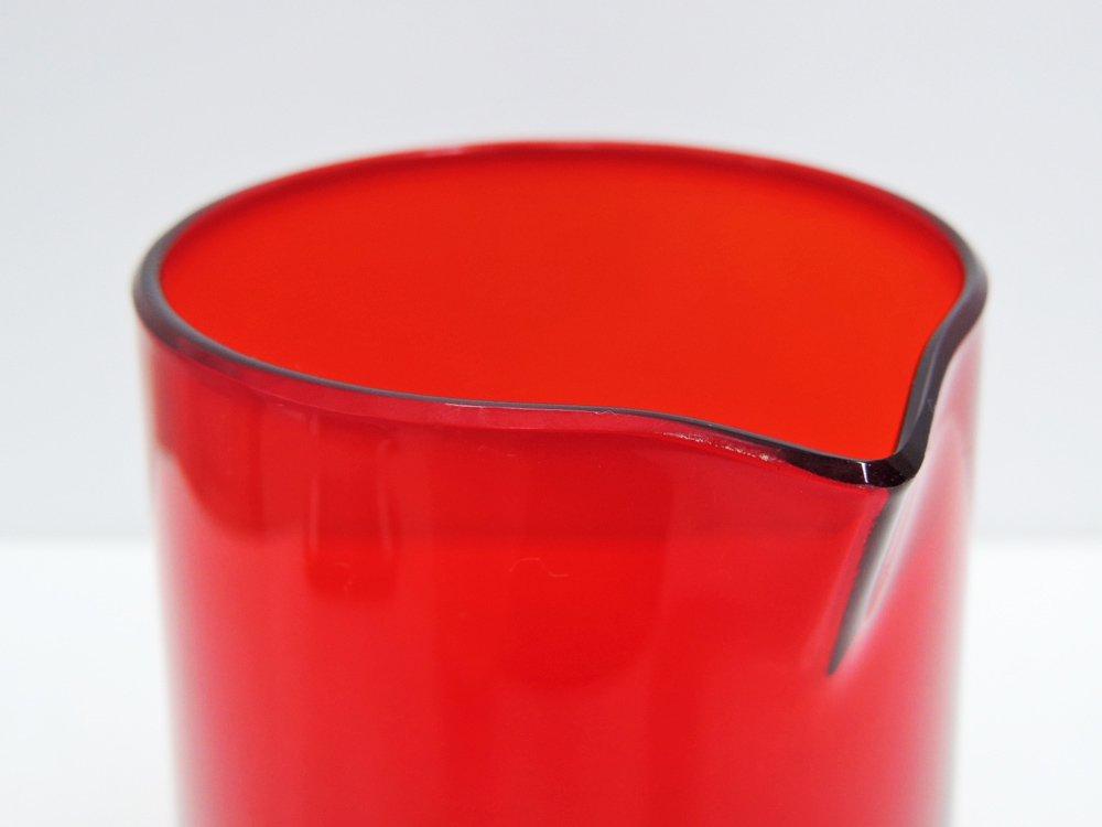北欧ビンテージ Scandinavian Vintage ガラス ピッチャー デキャンタ レッド 北欧食器 ●