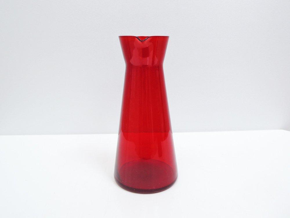 北欧ビンテージ Scandinavian Vintage ガラス ピッチャー デキャンタ レッド 北欧食器 A ●