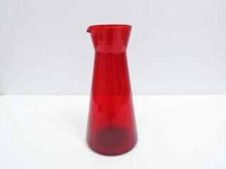北欧ビンテージ Scandinavian Vintage ガラス ピッチャー デキャンタ レッド 北欧食器 B ●