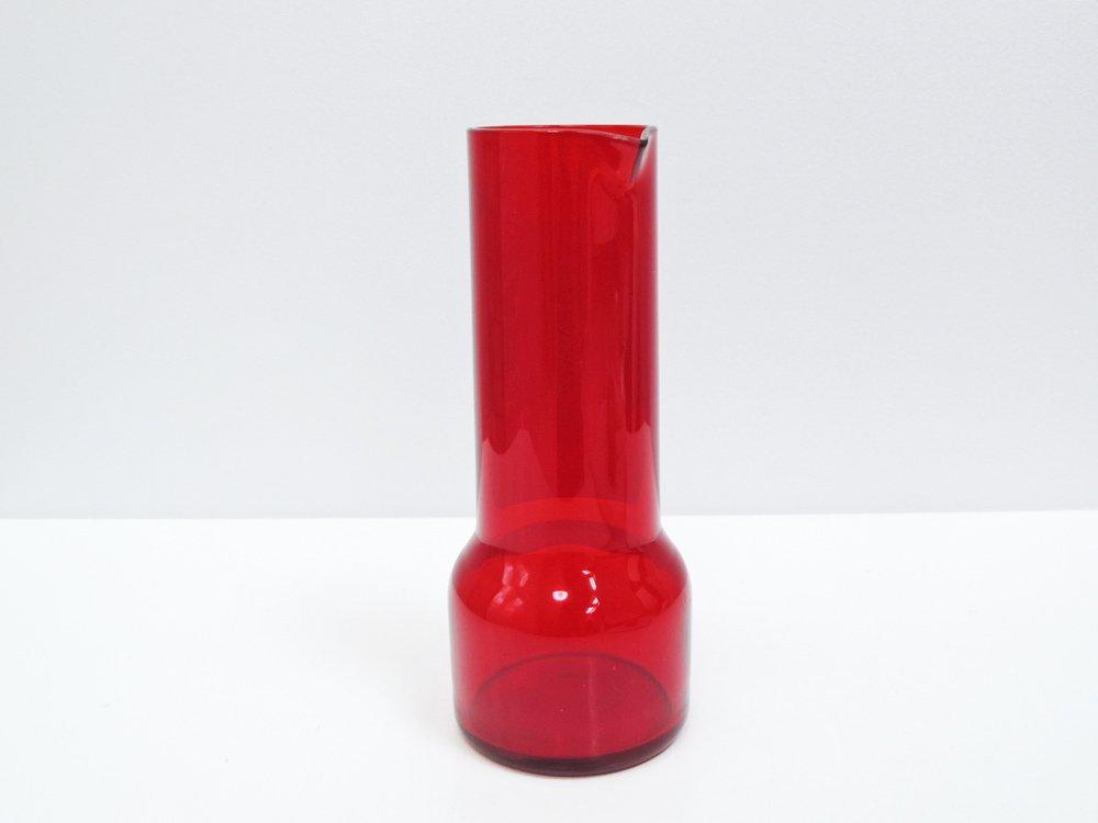 北欧ビンテージ Scandinavian Vintage ガラス ピッチャー デキャンタ レッド チーク蓋付 北欧食器  ●