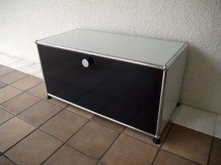 ユーエスエムハラーシステム USM Haller 1×1 ローボード W786 G.ブラック×L.グレー 定価¥83,550+α キャビネット AVボード オフィス家具 MoMA スイス製 ◇