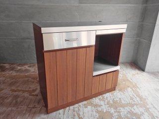 ウニコ unico ストラーダ STRADA キッチンカウンター ステンレス×アッシュウッド 幅 90cm オープンタイプ キッチンボード ♪