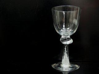 荒川尚也 作 泡入り ワイングラス 宙吹きガラス 現代作家 ●