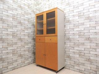 無印良品 MUJI 木製カップボード ワイド メイプル突板 キャビネット 食器棚 希少廃番 ●