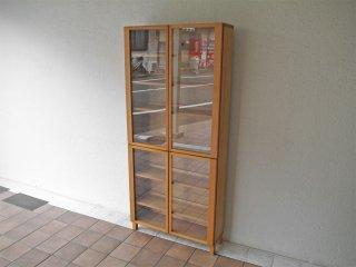 無印良品 MUJI 良品計画 組み合わせて使える木製収納 キャビネット ブックシェルフ 奥行21cm ミドルタイプ ガラスドア付き タモ材 総額¥54,000- ◇